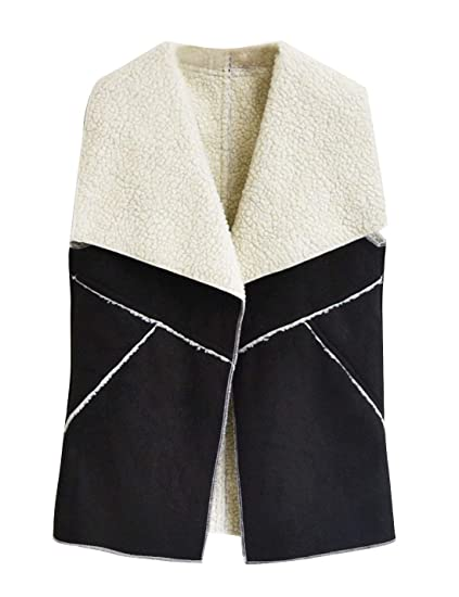 1d80a3bbf93 HUPOO Women's Stitching Cashmere Fleece Lined Faux Fur Suede Vests  Waistcoats