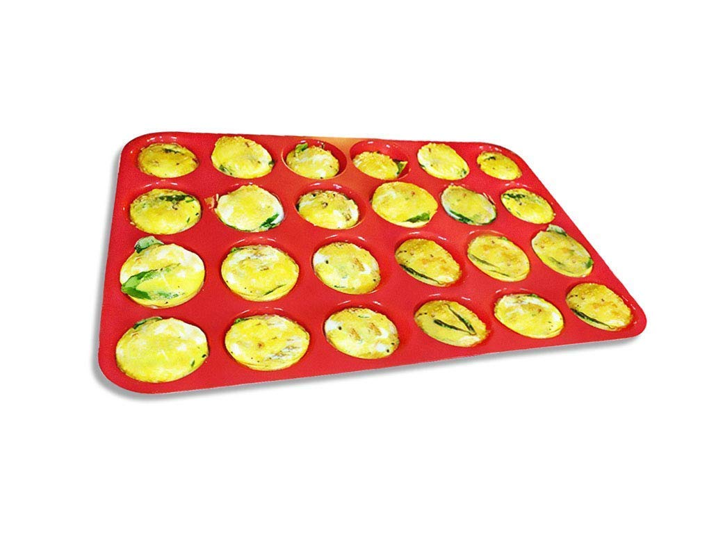 Keliwa 24 Cup Silicone Mini Muffin - Cupcake Baking Pan/Non - Stick Silicone Mold/Dishwasher - Microwave Safe 704817391756