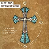 Pine Ridge Traditional Celtic Style Wall Hanging Cross With Turquoise Leather and Studded Accents - Christian Cross Irish Inspired Design Home Decor