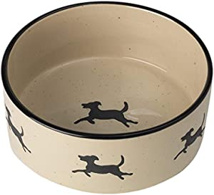 PetRageous 14025 Chasing Dogs Stoneware Food or Water Bowl with 6 Cup Capacity 7 Inch Diameter by 3 Inch Tall Great for Medium or Large Dogs and Cats, Black/Natural
