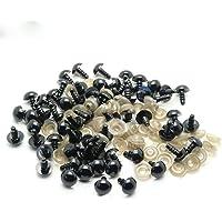 100 ojos de seguridad negros para animales, ojos de muñeca de plástico para amigurumi oso de peluche manualidades, fabricación de muñecas, 6 mm-16 mm, Negro, A02:8mm