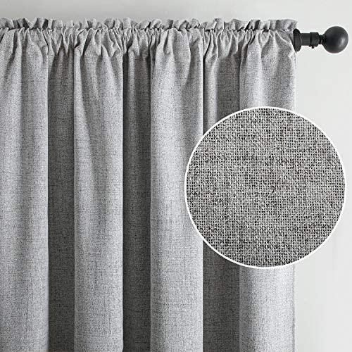 Top Finel Faux Linen 100 Blackout Curtains 96 Inches Long