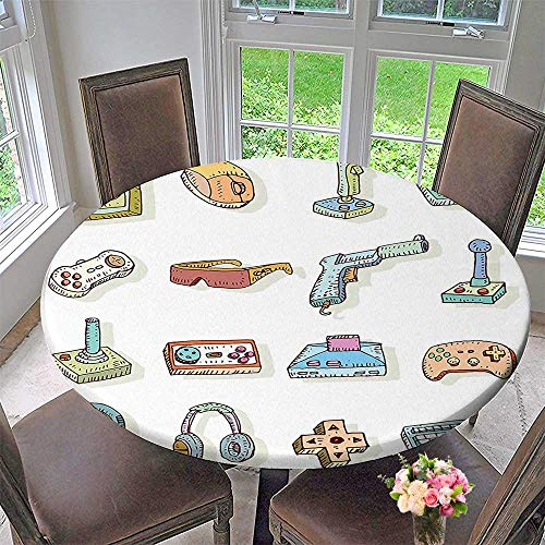 Mikihome Round Fitted Tablecloth Retro Artsy Digital Fun Sketch Kids 90s Computer Console Headphones Nerd Gun Joystick for All Occasions 47.5