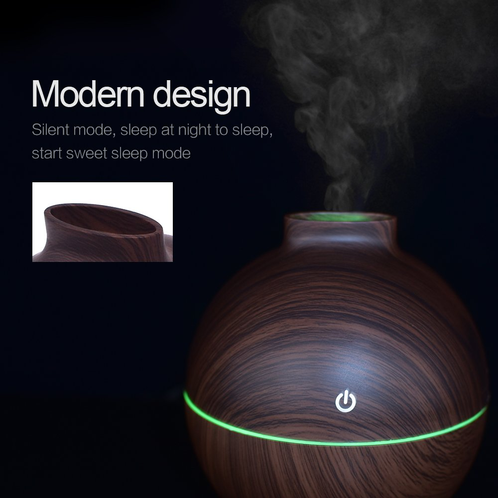 USB Power-Supplied Humidifier Aroma Essential Oil Diffuser, 130ml Ultrasonic Cool Mist Humidifier with LED Night Light USB Humidifier For Office Home Bedroom Living Room Study Yoga Spa (Dark Wood) by KBAYBO (Image #9)