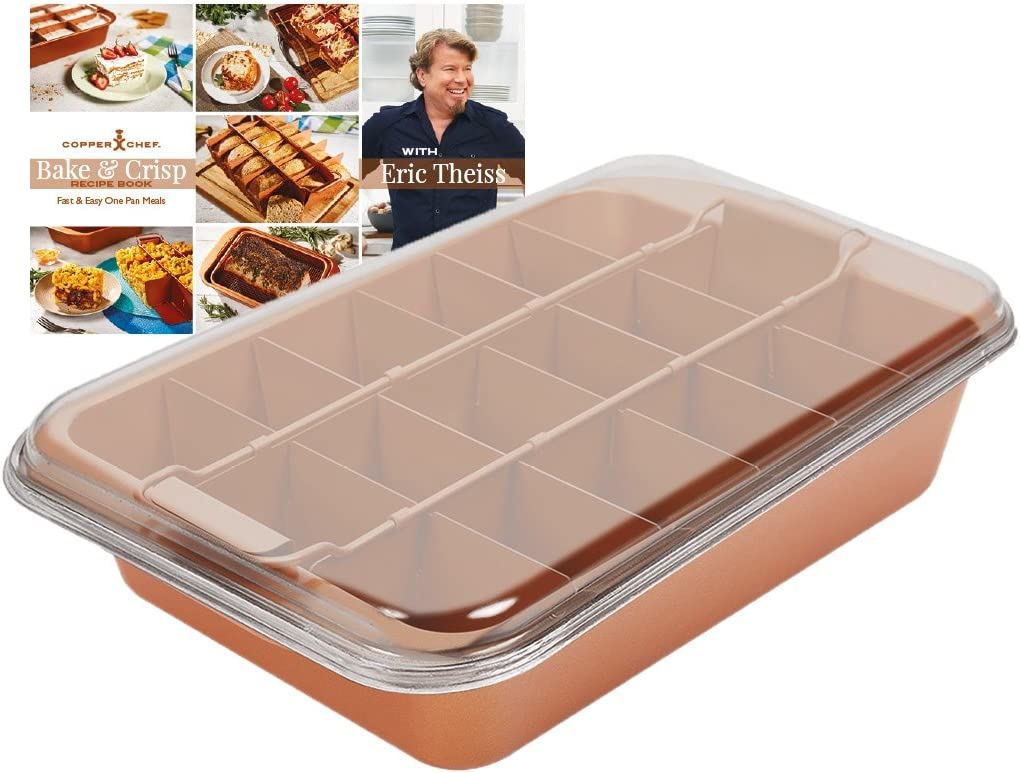 Copper Chef Bake Crisp Portion Control Adjustable Divider Bake And Roast Dish Lasagne Casserole Pies 12 5 X 9 X 3 32 X 23 X 8 Cm As Seen On High Street Tv Amazon Co Uk