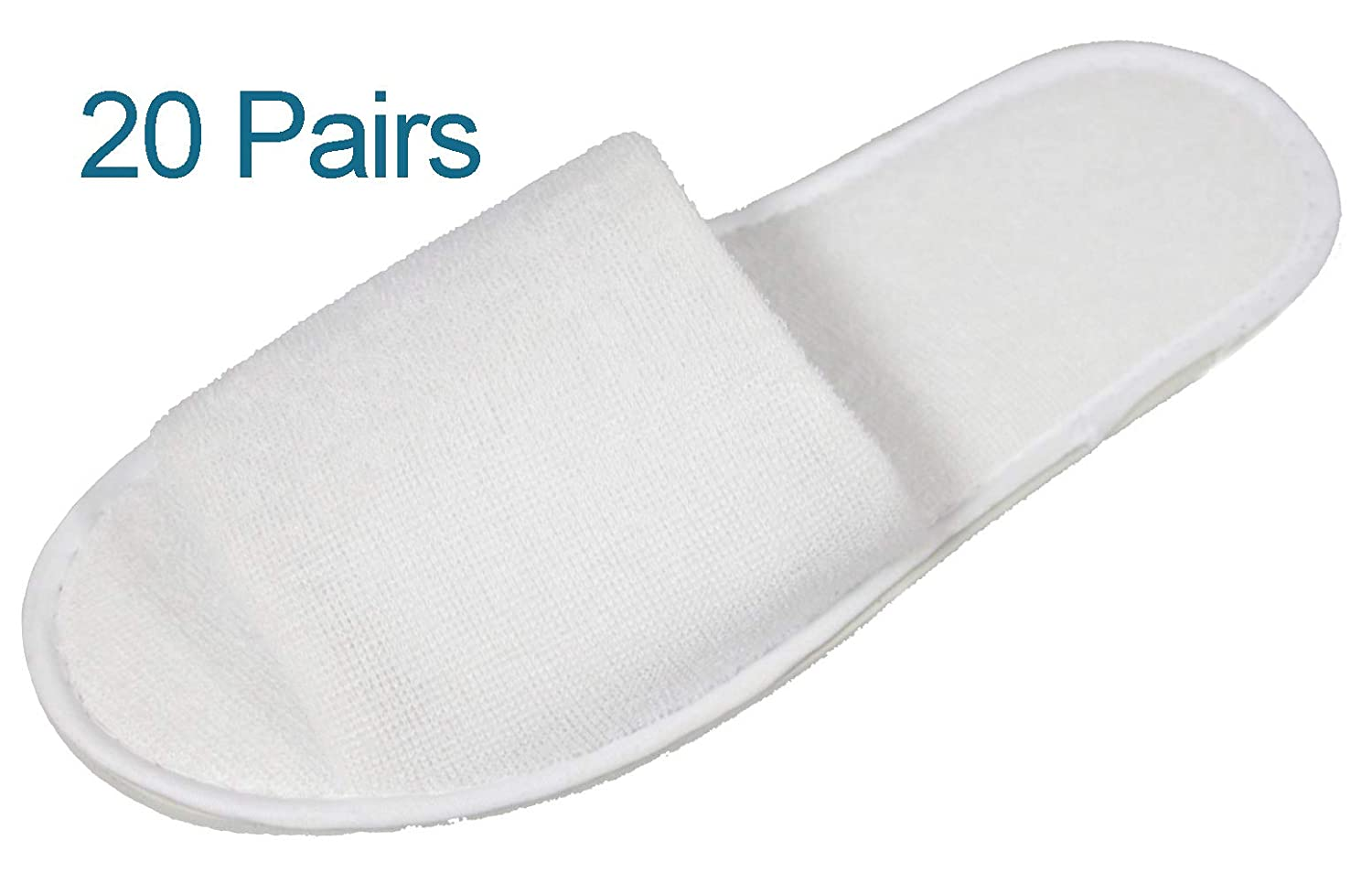 43121e442ebfc Luxehome White Terry Open Toe Spa Slippers, 20 Pairs per Case