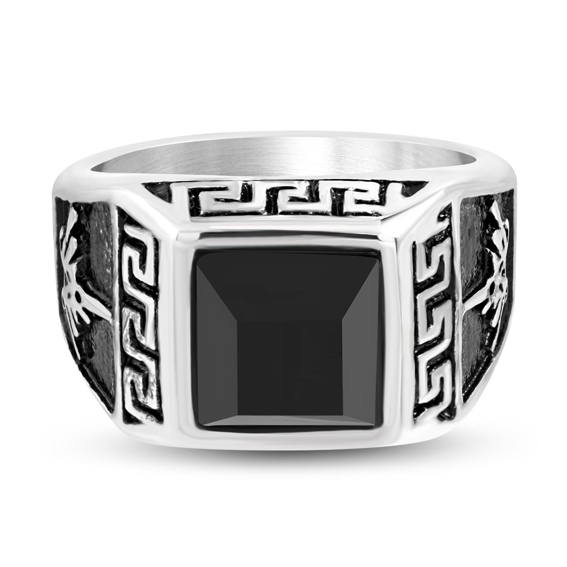 Stainless Steel 2 Color Greek Key Bezel-Set Square Biker Ring with Black Glass Stone