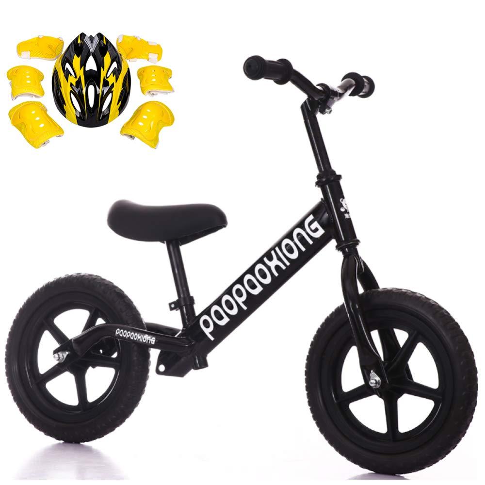 CHRISTMAD Balance Bike Kohlenstoffstahl Verstellbarer Griff Und Sitzhöhe Für 2-5-jährige Jungen Und Mädchen Mit Schutzausrüstung 12 & 039;& 039;,schwarz