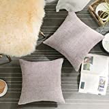 HOME BRILLIANT Decorative Pillowcases Throw Pillow Covers Valentines Decoration Soft Striped Velvet Chenille Plush Cushion Cover for Square Pillow (2Packs, 18 x 18 inch, 45cm), Light Pink