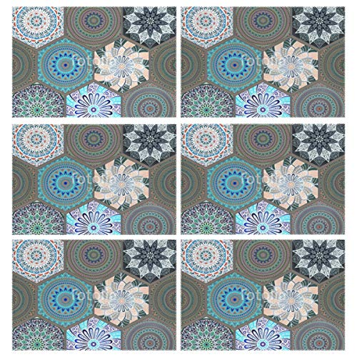 Cocoa trade Heat Resistant Placemats for Kitchen Table Mats Dining Room,Bohemian Style Oriental Washable Insulation Non Slip Placemat 12x18 inch(6 pcs) -