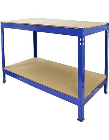 Monster Racking - Mesa de Trabajo Q-Rax de Acero Sin Tornillos Azul 120cm x