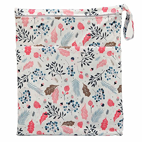 Wet Dry Bag Baby Cloth Diaper Nappy Bag Reusable with Two Zippered Pockets (Berry)