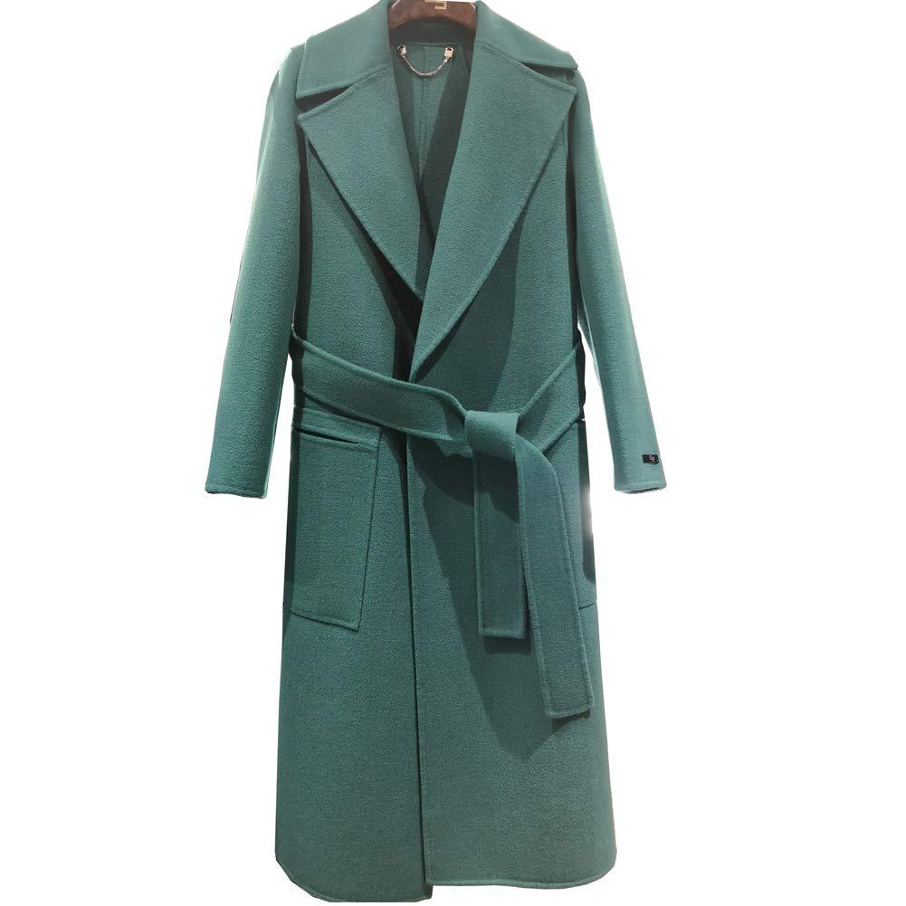 CG Women's Long Double Wool Coat Lapel Parka Jacket Cardigan Overcoat Outwear with Belt G026 (Green, S)