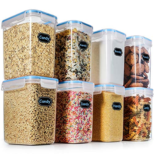 Food Storage Containers Airtight Containers, Estmoon Cereal & Dry Plastic Containers for Cereal Flour Rice Snacks Sugar, Leak Proof with Locking Lids - Set of 8 (54.66 oz / 1.6L) by Estmoon