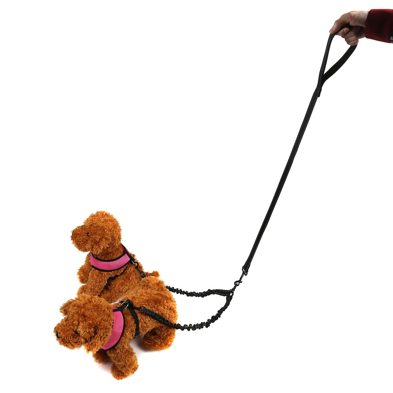 CozyCabin No Tangle Double Dog Leash Coupler, 360°Swivel Tangle Free Bungee Reflective Double Dog Leash, Comfortable Shock Absorbing Dual Leash for 2 Medium & Large Dogs