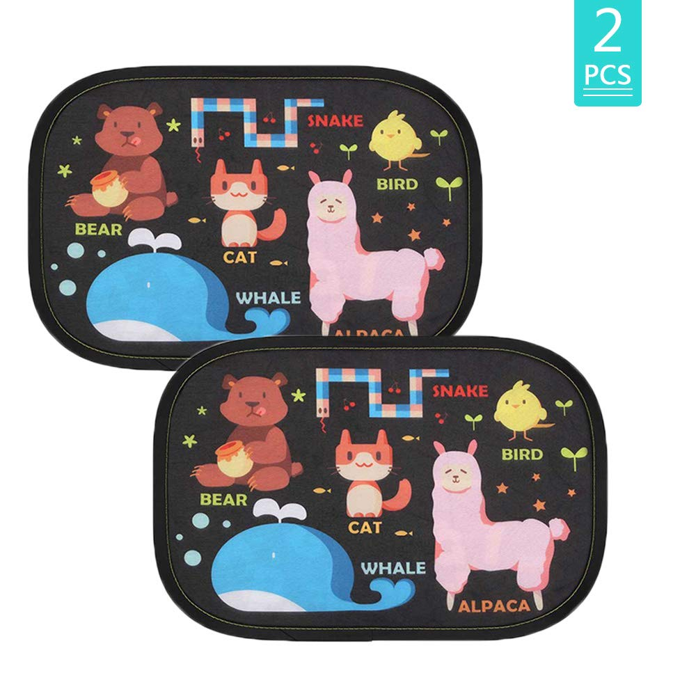 Car Window Sun Visor Shades for Baby Kids with Certified UV Protection Self-Adhesive Sweet Animal Patterns (Type1)