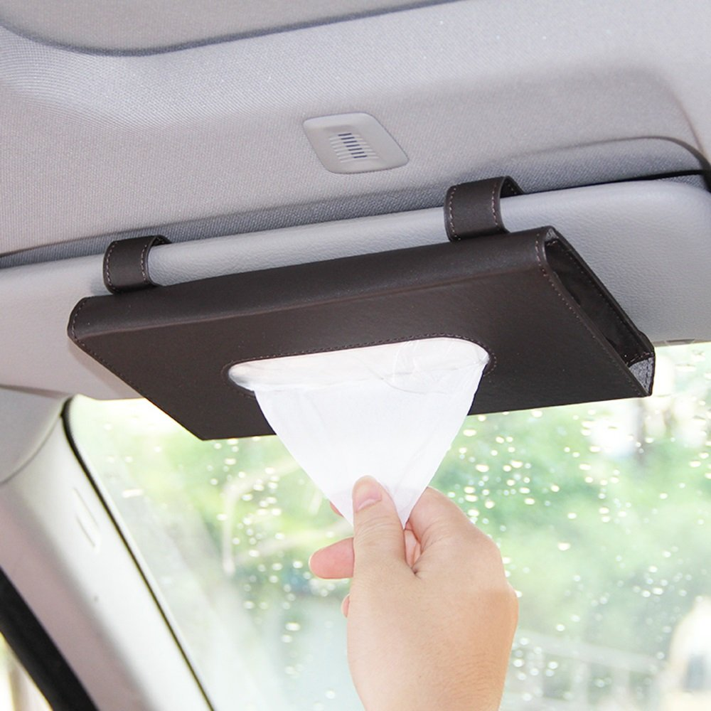 XUEXUE Leather Car Paper Towel Box Hanging Sunroof Car Towel Box Sun Visor Pumping Cartons Automotive Interiors Supplies