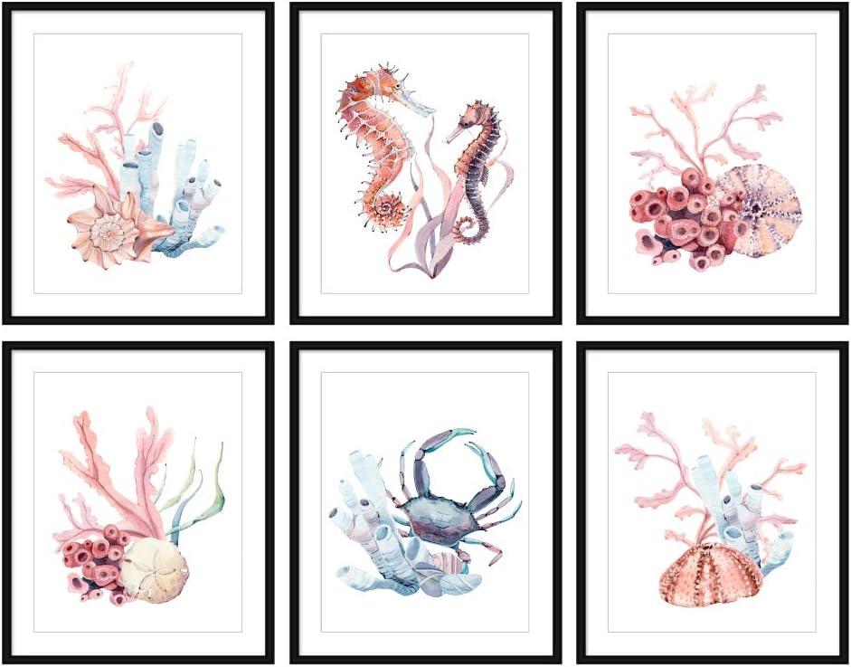 Bestbuddy Pet Set of 6 (8X10) Unframed Watercolor Beach Wall Decor Art Prints Set Coral Seahorse Crab Home Wall Art N036