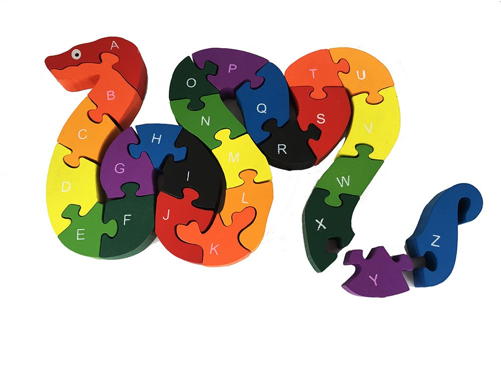 BayShow Wooden Alphabet Puzzle - Snake Letters Numbers Block Toys for Kids, Learn ABCs and 123s, Non-Toxic Paint