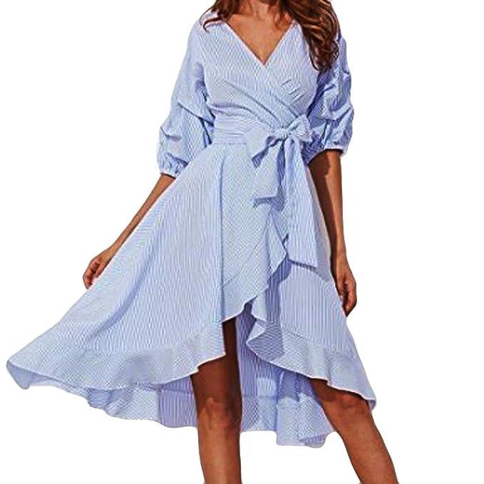 07dabf622b6f3 Pink Maternity Dress,Women Fashion Striped V-Neck Puff Sleeve Asymmetric  Bandage Dress,