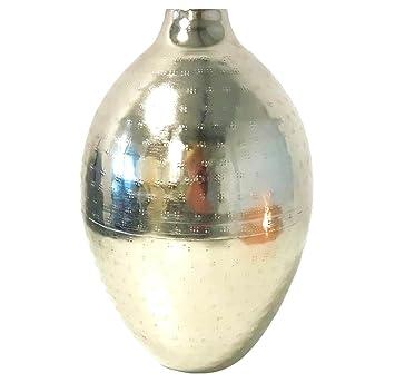 Amazon De Elegante Designer Vase Silber Gehammert Chrom Metall