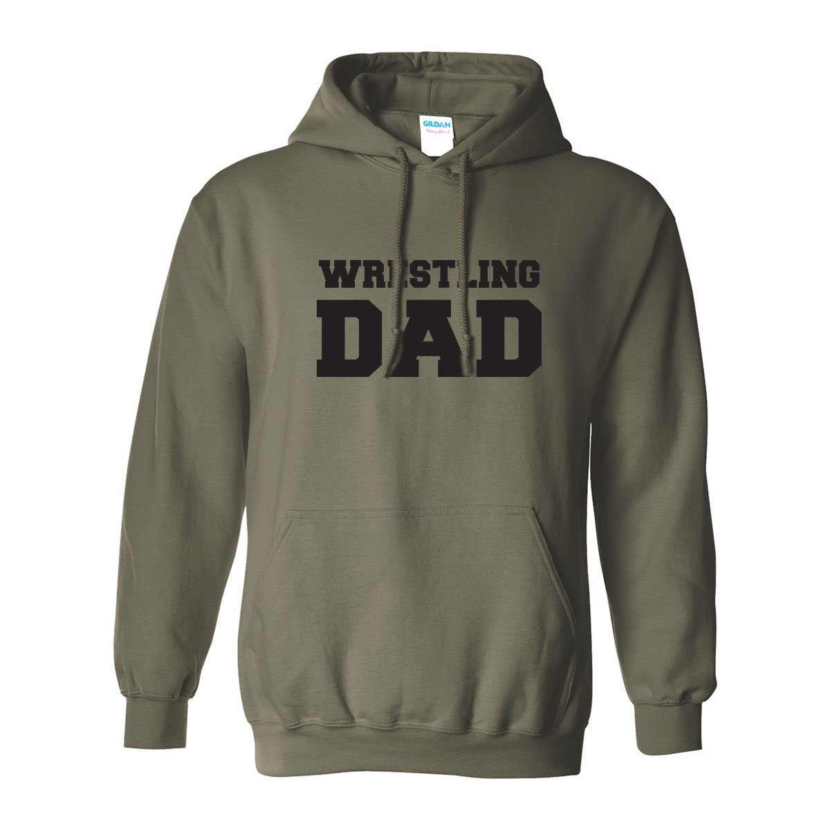zerogravitee Wrestling Dad Adult Hooded Sweatshirt in Military Green with black text - XXXX-Large