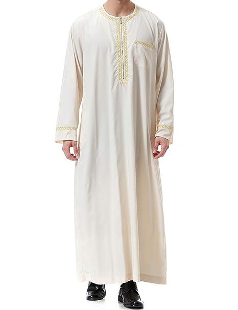 Ropa Abaya Maxi Vestidos Islamic-Hombre de Caftán Camisa ...