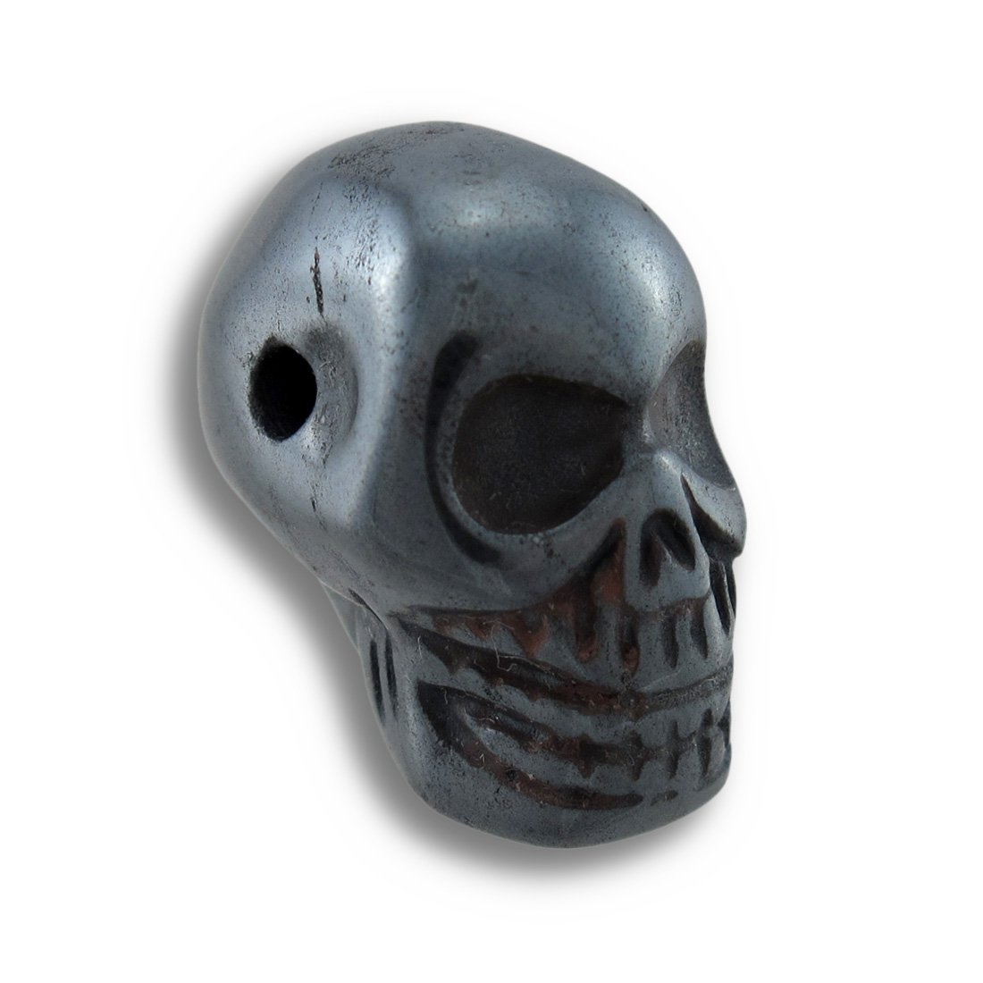 Things2Die4 Acrylic Loose Gemstones Carved Hematite Gemstone Skull Pendant 25Mm 1 In. Gray