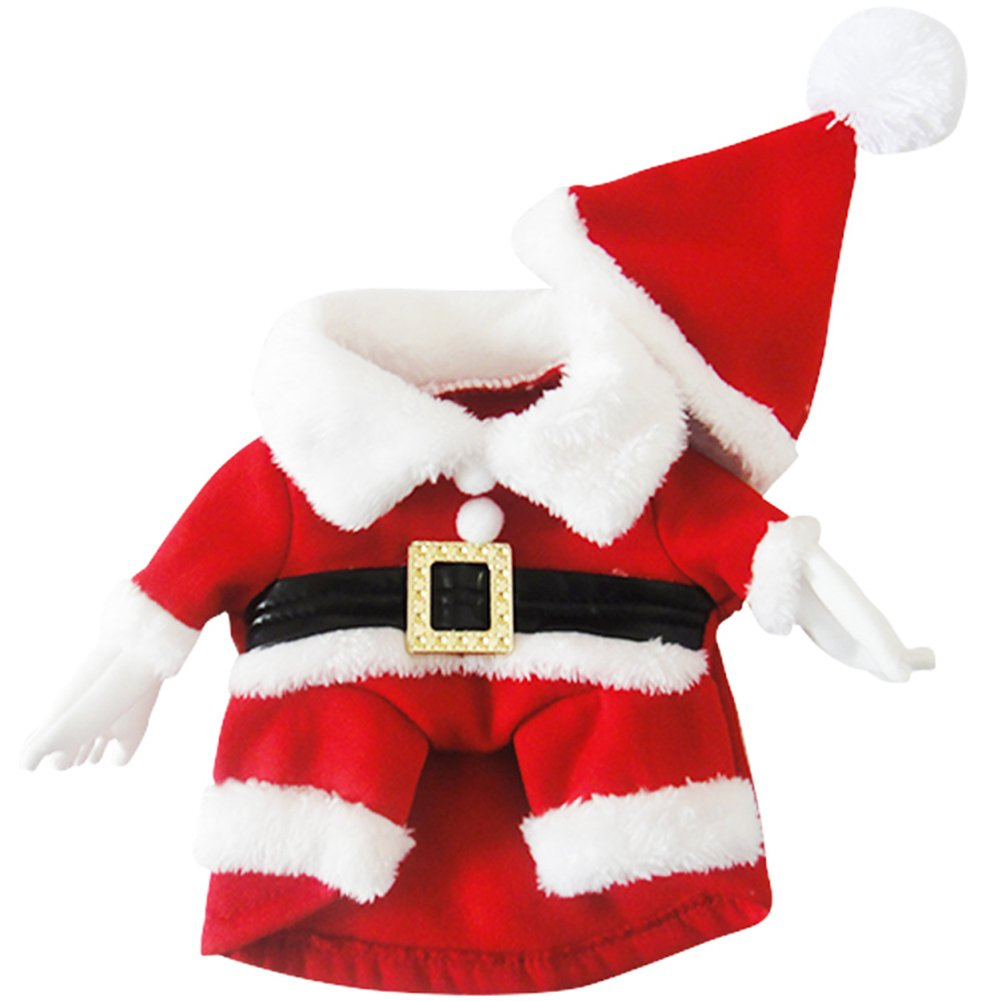 NACOCO Pet Christmas Costumes Dog Suit with Cap Santa Suit Dog Hoodies Small