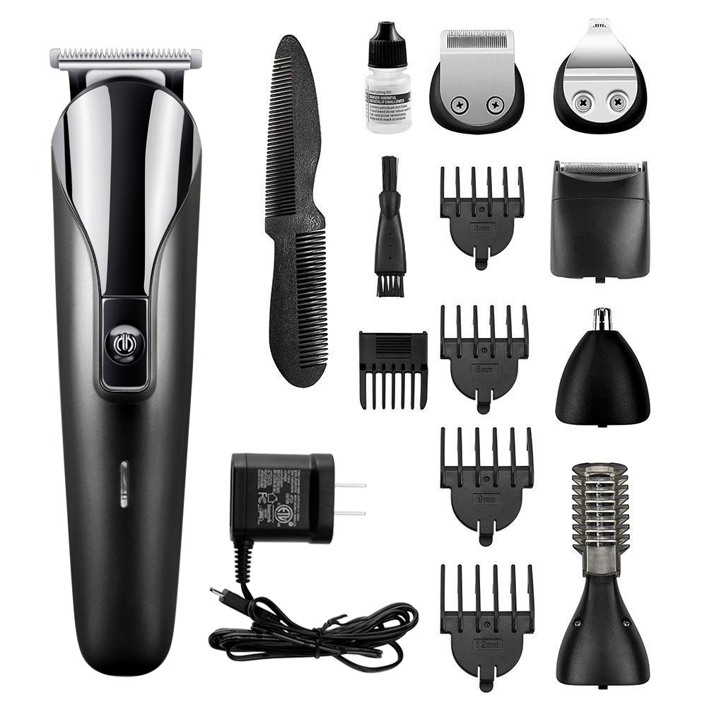 Bovon Multifunctional All in One Men's Grooming Kit Pro Beard Trimmer Hair Clippers Cordless Rechargeable Hair & Nose & Ear & Mustache & body Trimmer Electric Razor-Best Gift for Daddy (black)