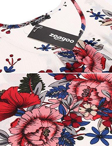 White Floral Zeagoo 2 Chemise Femme Eq0RU0wOt