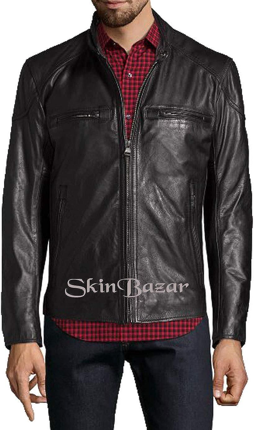 Mens Stylish Motorcycle Biker Genuine Lambskin Leather Jacket 309