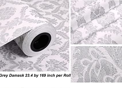 F&U Peel and Stick Damask Design Wallpaper PVC Contact Paper Drawer Shelf Liner for Home Wall