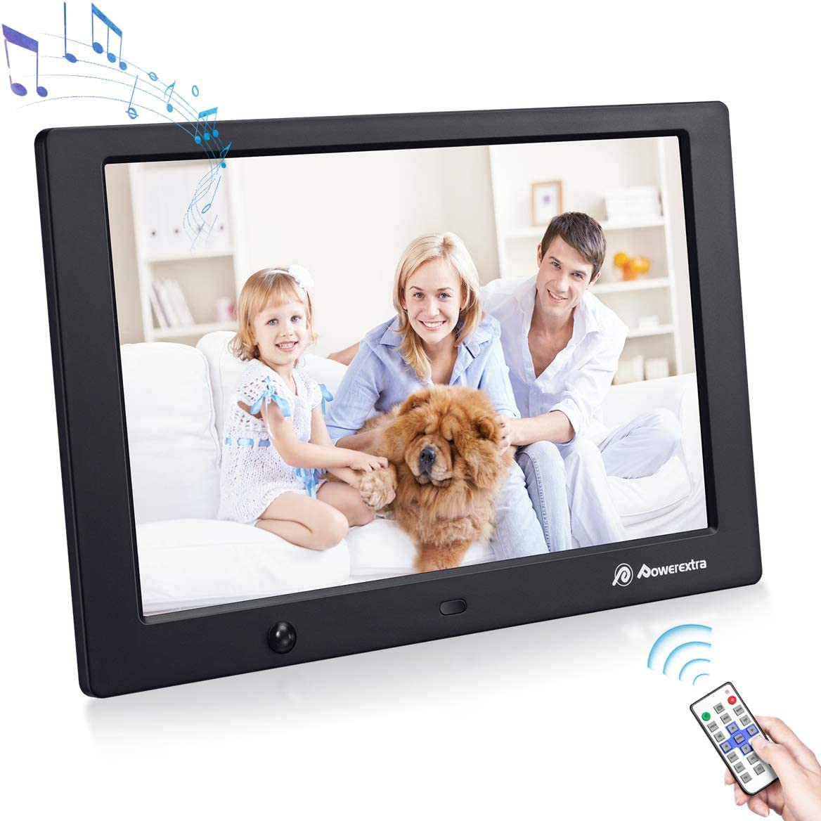 10.1 Inch Digital Photo Frame with 1920 1080 HD IPS Screen Remote Control Display Picture Music Video Calendar Alarm Timer on Off by SD Memory Card U Disk Support 64G USB Device Black