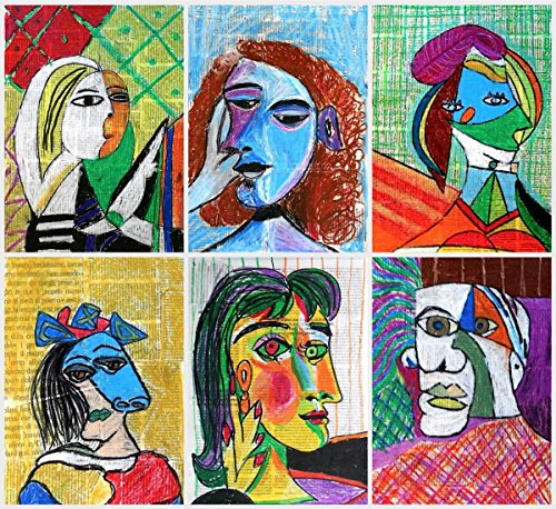 Picasso Mixed Media - Quality Prints - Laminated 16x15 Vibrant Durable Photo Poster - Mixed Media Portraits by Picasso