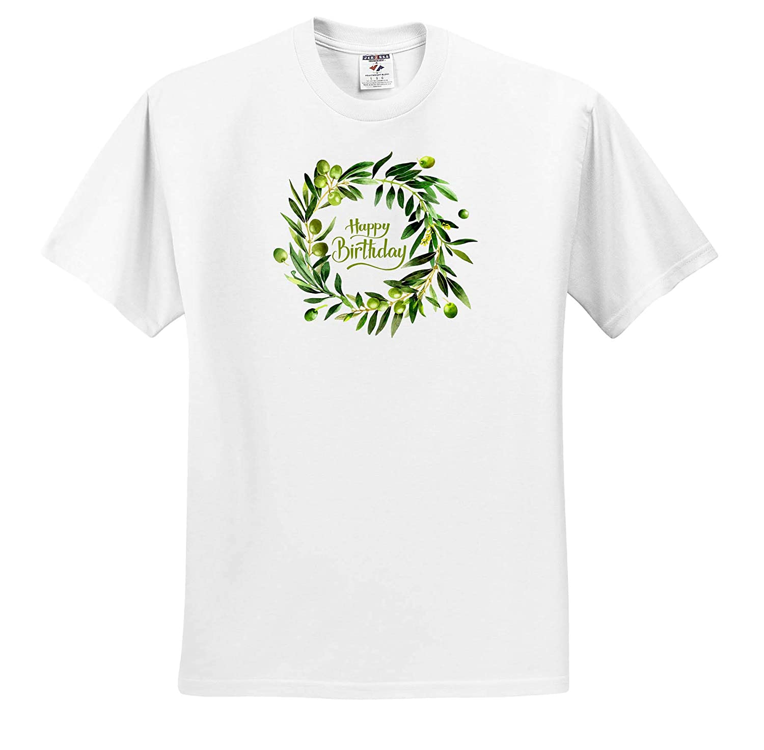 Happy Birthday 3dRose Uta Naumann Sayings and Typography T-Shirts Watercolor Summer Olives Foliage Wreath Typography