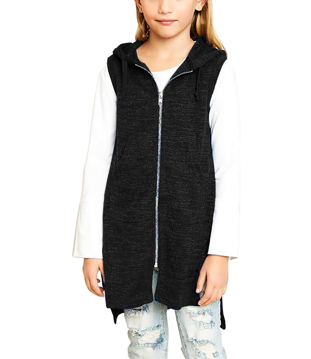 KunLunMen Kids Clothes Girls Vests Knit Hooded Jackets Tops Sleeveless Outerwear 4-5 Years