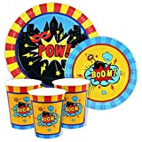 SUPER HERO party DINNER & DESSERT Paper PLATES and CUPS for 24 GUESTS