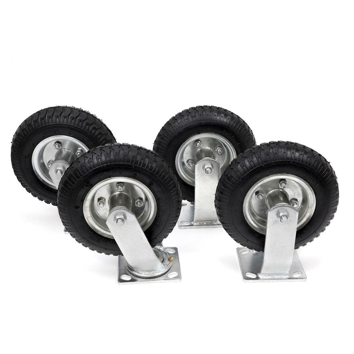 4Pcs 8'' Pneumatic Air Tire Wheel 2 Rigid + 2 Swivel HD Farm Cart Caster Large