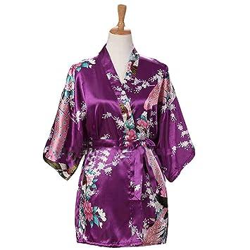 Púrpura - Mujer Pijamas de Tela de Seda imitada Albornoz Corto Bata de Kimono Pavo Real/Flores: Amazon.es: Hogar
