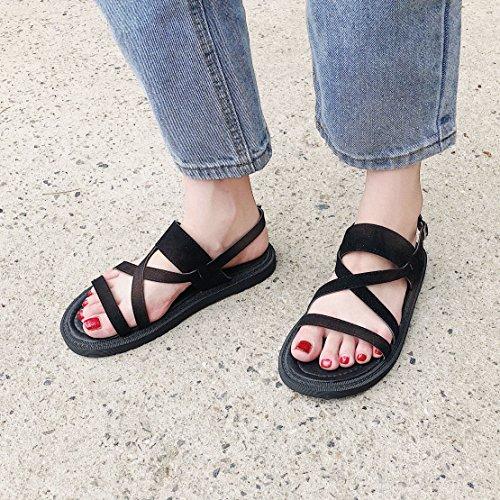UE Negro Plano Señoras de 39 YMFIE 39 de Dedos EU Playa Fondo Confortables Shoes Sandalias Antideslizante Sandalias 6IgCxxqwnA