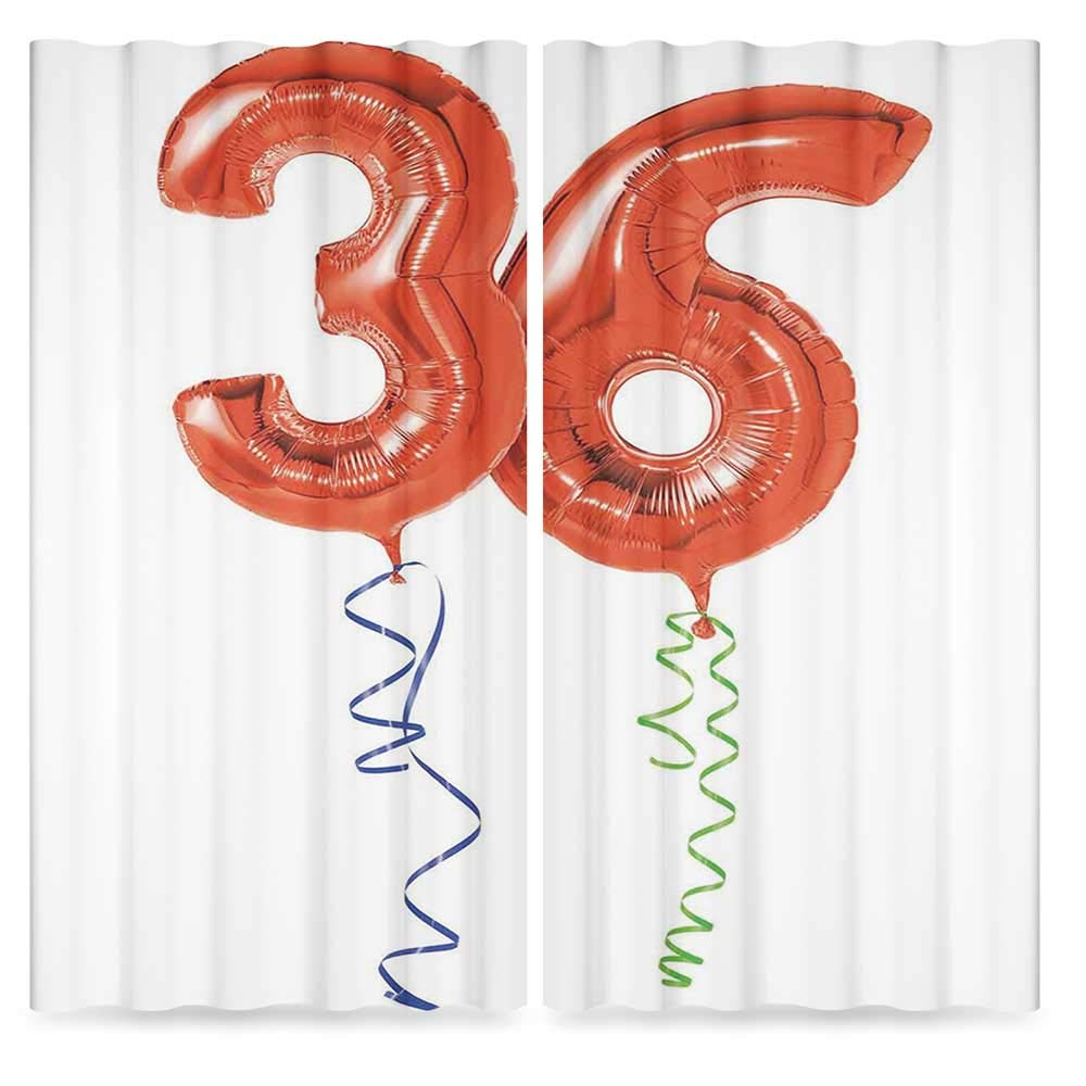 36th Birthday Decorations Blackout Window Curtain,Fluffy Flying Party Balloons with Colored Curly Ropes,Window Drapes 2 Panel Set for Living Room Bedroom, 2 Panel Set, 28W X 39L Inches