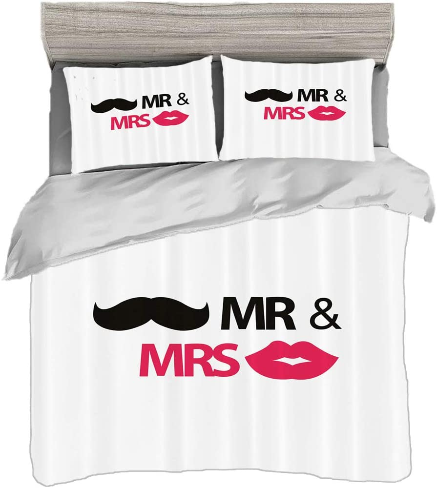 Duvet Cover Set King Size 230 X 220cm With 2 Pillow Shams Wedding Ations Microfiber Bedding Sets Funny Stencil Art Lips Moustache Mr And Mrs Retro Stylized Design Black White Easy Care Anti Allergic Amazon Co Uk
