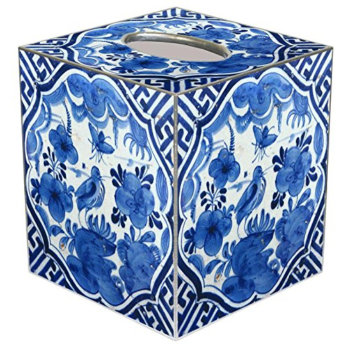 White Paper Mache - Blue Delft Bird on Blue & White Paper Mache Tissue Box Cover