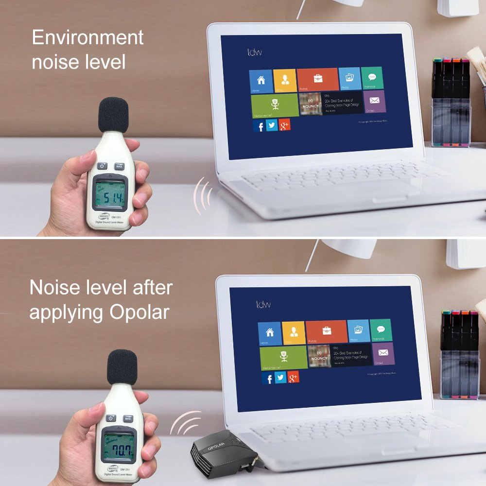 OPOLAR Portable Laptop Fan Cooler with Two Temperature Mode Display,Rapid Cooling Auto-Temp Detection 13 Wind Speed Compatible with Notebo Two-Way Installation Unique Clamp Design 2600-5000 RPM