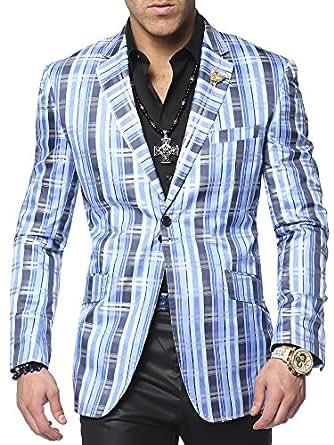 Men's Plaid Cuadro Blue Sports Coat Blazer at Amazon Men's Clothing