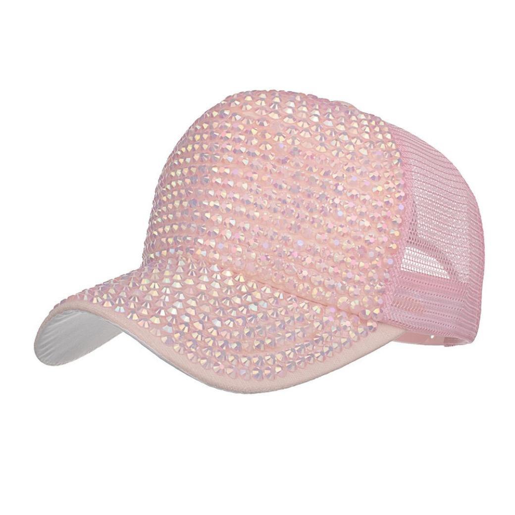 41710116db1b7 Amazon.com  Botrong Women Rhinestone Hats Female Baseball Cap Bling Diamond  Hat (Pink)  Cell Phones   Accessories