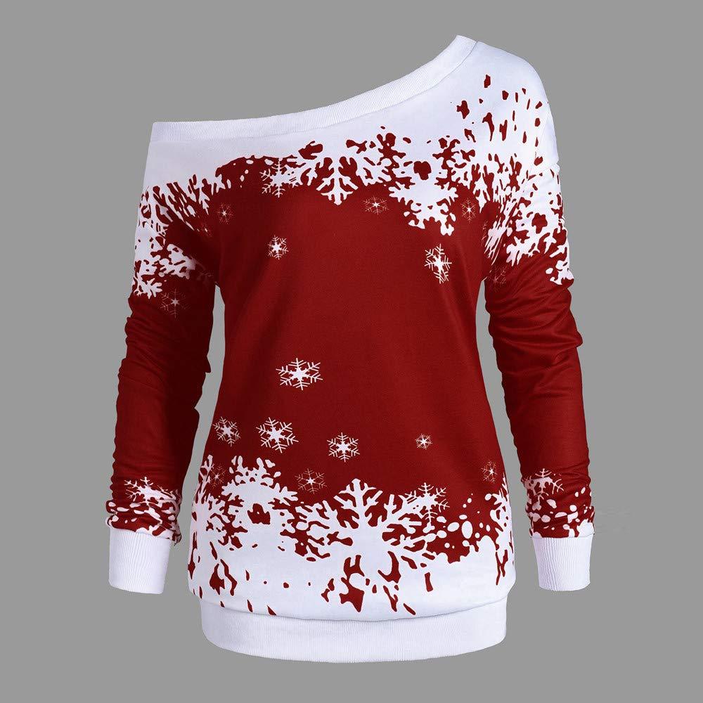 e65f75033263ab BETTERUU Christmas Women Snowflake Print Long SleeveTops Sweatshirt  Pullover Blouse Shirt at Amazon Women s Clothing store