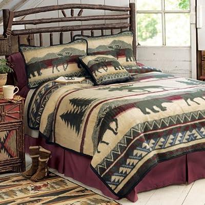 Cedar Run Fleece Cabin Blanket - King - Rustic Bedding Decor