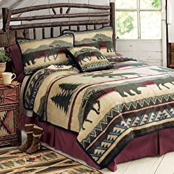 Cedar Run Fleece Cabin Blanket - Queen - Rustic Bedding Linens
